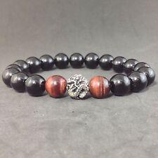 MENS Black Onyx Red Tiger Eye Gemstone Sterling Silver Beaded Stretch Bracelet