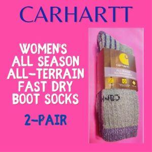 CARHARTT Womens Mid-Calf All-Terrain Socks 2-Pair. Fast-Dry Fights Odors! Purple