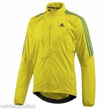 Adidias Tour Mens Cycling RainJacket Yellow with Bue Stripes Medium
