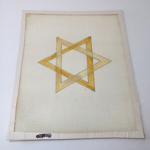 """Star of David Needlepoint Canvas 14 Count 11"""" x 13.5"""" Six Pointed Star"""