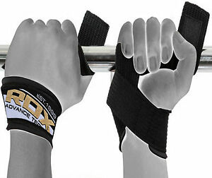 RDX Weight Lifting Wrist Strap Hand Bar Grip Support Padded Brace Gym Wraps