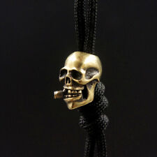 Smoking Skull Solid Brass EDC Knife Bead Keyring Zipper Parachute Cord Pendant