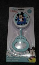 NEW - Disney Baby MICKEY MOUSE Plastic Baby Rattle - Blue - BPA Free - FREE SHIP