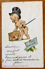 Vintage Postcard posted 1911 FROM BABYLAND naked baby top hat can trunk American