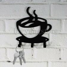 Home Decorative Coffee Wall Mount Metal 3 Hook Key Rack Hanger Organizer Decor