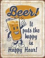 Happy Hour Beer Pub Bar Rustic Retro Tin Sign 13 x 16in