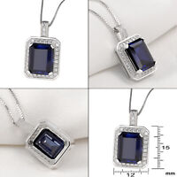 Newshe Emerald Blue Sapphire Topaz 925 Sterling Silver Pendant Chain Necklace