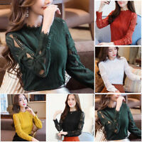 New Korean Fashion Womens Lace Hollow Chiffon Shirt Long Sleeve Slim Blouse Top`