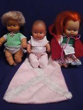 3 muñecas barriguitas 70-80 con saquito de bebe original