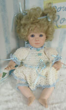 """""""Laura """" by Patricia Arlene 98 Porcelain/cloth 10"""" sitting doll with purple eyes"""
