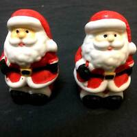 New Christmas Twins SANTA CLAUS SALT PEPPER SHAKERS Ceramic Holiday Classic SET