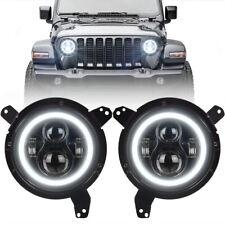 "Black 9"" Round LED Projection Headlight Kit White Halo DRL for Jeep Wrangler JL"