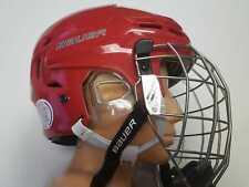 Bauer Re-Akt Combo Helmet Senior Combo Red With Titanium Grid Size: L