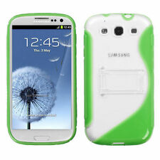 Samsung Galaxy S III 3 TPU S-Line Flexi Skin Case Cover Kick Stand Green S-Shape
