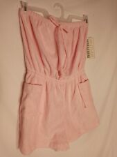 Vtg 70s 80s Vandemere Tree Sz L Terry Cloth Romper pink NEW OLD STOCK WITH TAGS