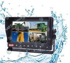 """Truck 7"""" Digital LCD Quad Split Screen Waterproof  Monitor 4 Video Inputs"""