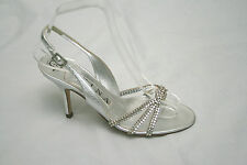 Fabulous Gina silver diamonte strappy slingbacks UK 3.5 BNWT, RRP £490 (3982)