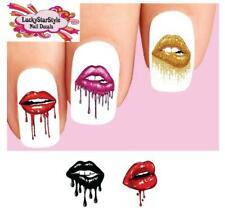 Waterslide Nail Decals Set of 20 - Lips Dripping Lipstick Mouth Assorted