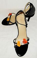GUESS by Marciano Black with 3 Multi Color Flowers Strappy Open Toe Heels Sz 7 M