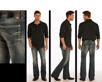 ROCK & ROLL COWBOY Men's Regular Pistol Fit Boot Cut Distressed Jeans M0P9486