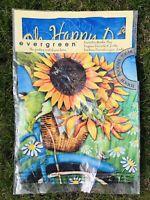 Evergreen Happy Sunflower Garden Flag Decorative Outdoor House Banner 12 x 18