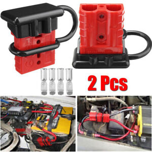2pcs Connector Set Cable Wire Quick Connect Battery Plug Kit 8 AWG 50A 12V/24V