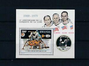 D143693 Rwanda S/S MNH Space 10th Anniversary Moonlanding