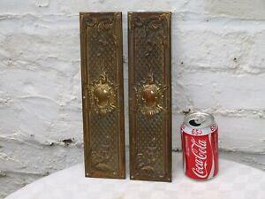 c 1892 - 2x RECLAIMED VICTORIAN ART NOUVEAU BRASS DOOR FINGER PUSH PLATES