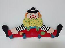 Coat Rack Hanger 4 Holders Picture of Clown 15 3/8in x 8