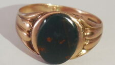 Charismatic Antique 1914 (105 yrs) Rose Gold/Bloodstone ring sz 9.5, heavy 5.36g