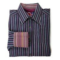 Robert Graham Shirt Mens Large Navy Blue Purple Striped Paisley Cotton Flip Cuff