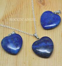 925 Silver Necklace With Lapis Lazuli Heart Pendant, Reiki Healing Ladies Gift