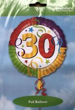 """4 x 30th Birthday Unisex 18"""" Foil Balloons With Weight Helium Fillable Rainbow"""