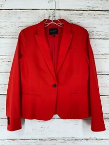 Banana Republic Blazer Jacket Womens Sz 6 Red Classic Fit Washable Wool Blend