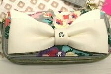 LUV BETSEY JOHNSON Double Zip Wallet NWT Large white bow floral Wristlet NWT