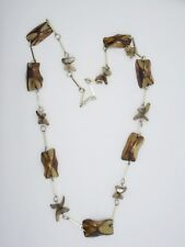 VINTAGE BROWN IRIDESCENT MOTHER OF PEARL/ABALONE with BAR SPACER NECKLACE ~ 28""