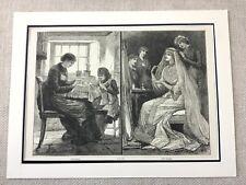 1882 Victorian Lace Making Bridal Wedding Dress Costume Original Antique Print