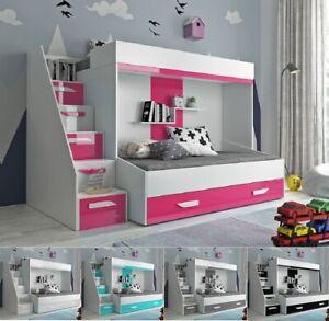Hochbett Etagenbett für 2 mit Treppe PARIS 6 hochglanz weiß türkis rosa grau
