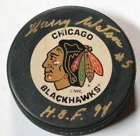 Chicago Blackhawks Harry Watson Signed Autographed Hockey Puck NHL Auto