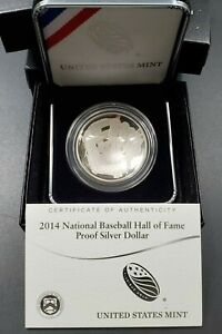 2014 $1 BASEBALL HALL OF FAME SILVER Commemorative Dollar Coin OGP DCAM PROOF
