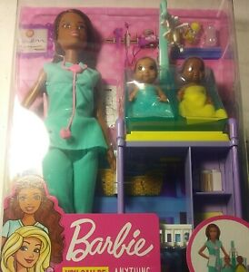 NEW Barbie Baby Doctor Playset with Brunette Doll, 2 Infant Dolls, Exam Table