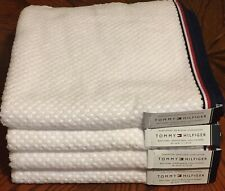 Tommy Hilfiger Set 4 Waffle Texture Bath Towels Red White Blue Trim Patriotic