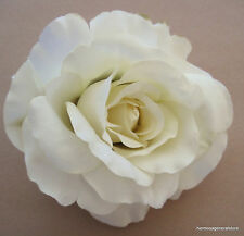 "4 1/2""  Cream White Silk Rose Flower Hair Clip, Wedding, Prom,Bridal,Dance"