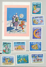 St Lucia #491-500 IYC, Disney, Space 9v & 1v S/S Imperf Proofs