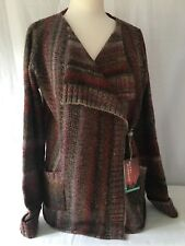 Royal Robbins Women's Sweater Large Acrylic Wool Bordeaux Crossover Close Multi