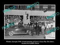 OLD POSTCARD SIZE PHOTO OF WINDER GEORGIA OPENING OF LARRYS TIRE STORE 1948