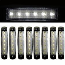8 Pcs White 24V Side Marker Lights 6 LED Indicator Fits Trailer Transporter HGV