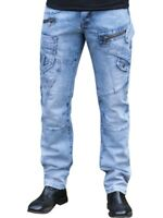 ETO Mens Tapered Fit Jeans For Mens Casual Funky Designer Light Blue Denim Pants