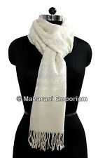 Cashmere Crewel Embroidered Fine Wool Shawl White Embroidery Kashmir Stole Wrap
