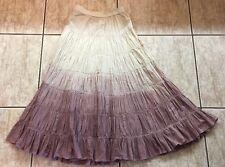 Biographie  Ombré Tiered Pleated Maxi Skirt Gauzy Cotton Boho Hippie EUC